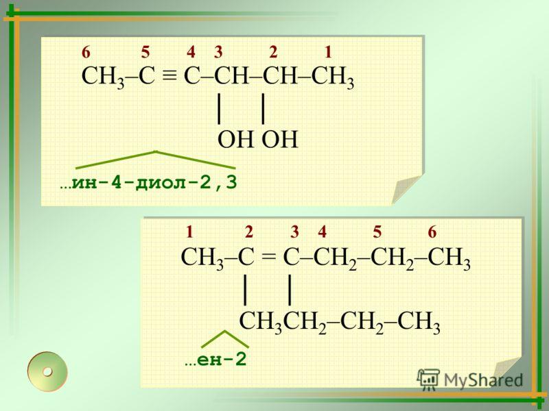 СН 3 –С = С–СН 2 –СН 2 –СН 3 СН 3 СН 2 –СН 2 –СН 3 СН 3 –С С–СН–СН–СН 3 ОН ОН 1 2 3 4 5 6 …ен-2 6 5 4 3 2 1 …ин-4-диол-2,3