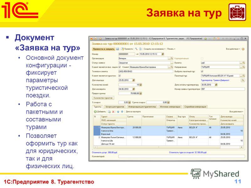 11 www.1c-menu.ru, Октябрь 2010 г. 1С:Предприятие 8. Турагентство Заявка на тур Документ «Заявка на тур» Основной документ конфигурации - фиксирует параметры туристической поездки. Работа с пакетными и составными турами Позволяет оформить тур как для