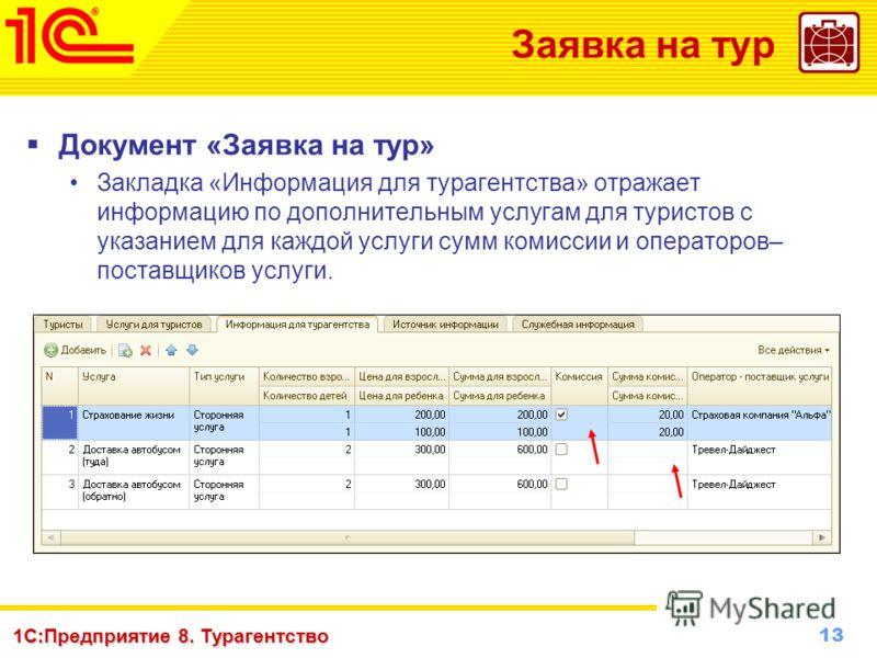 13 www.1c-menu.ru, Октябрь 2010 г. 1С:Предприятие 8. Турагентство Заявка на тур Документ «Заявка на тур» Закладка «Информация для турагентства» отражает информацию по дополнительным услугам для туристов с указанием для каждой услуги сумм комиссии и о