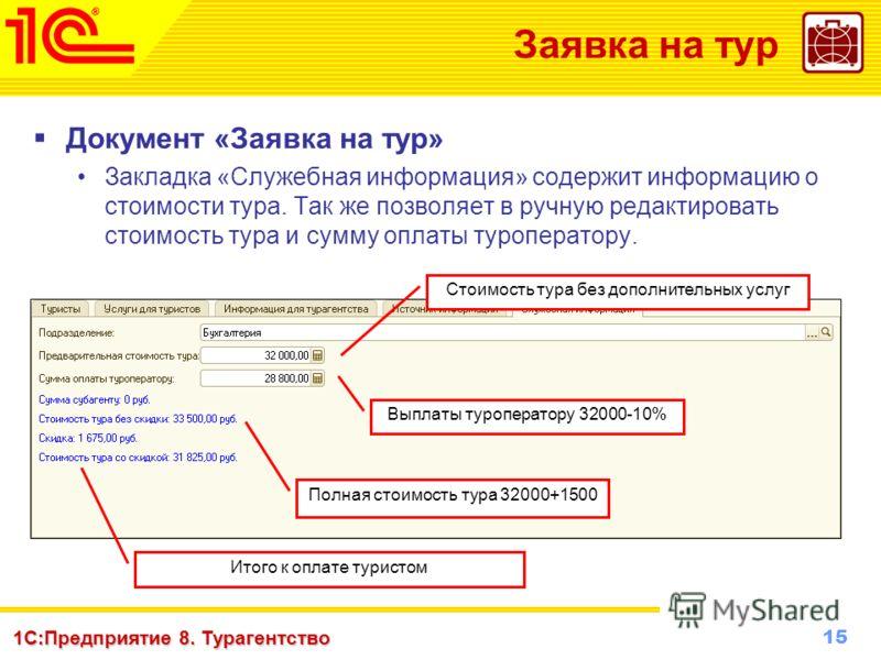15 www.1c-menu.ru, Октябрь 2010 г. 1С:Предприятие 8. Турагентство Заявка на тур Документ «Заявка на тур» Закладка «Служебная информация» содержит информацию о стоимости тура. Так же позволяет в ручную редактировать стоимость тура и сумму оплаты туроп