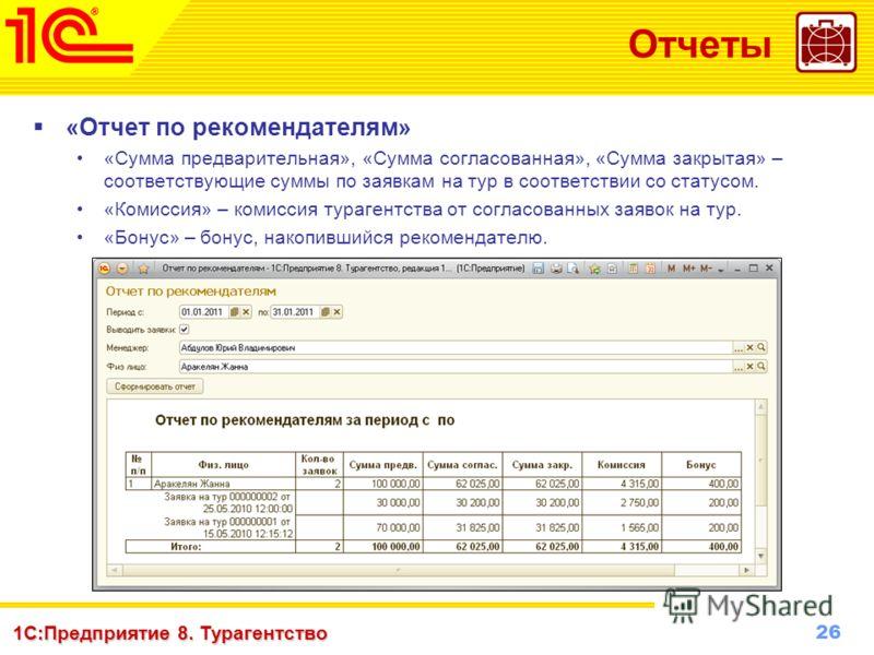26 www.1c-menu.ru, Октябрь 2010 г. 1С:Предприятие 8. Турагентство Отчеты «Отчет по рекомендателям» «Сумма предварительная», «Сумма согласованная», «Сумма закрытая» – соответствующие суммы по заявкам на тур в соответствии со статусом. «Комиссия» – ком
