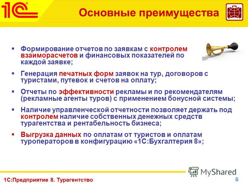 5 www.1c-menu.ru, Октябрь 2010 г. 1С:Предприятие 8. Турагентство Основные преимущества Формирование отчетов по заявкам с контролем взаиморасчетов и финансовых показателей по каждой заявке; Генерация печатных форм заявок на тур, договоров с туристами,