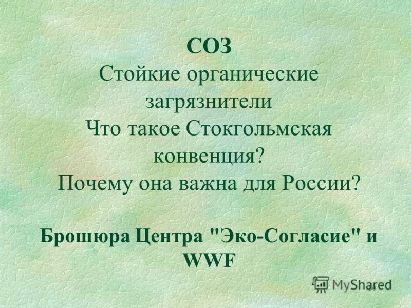 10 СОЗ Стойкие органические загрязнители Что такое Стокгольмская конвенция? Почему она важна для России? Брошюра Центра Эко-Согласие и WWF