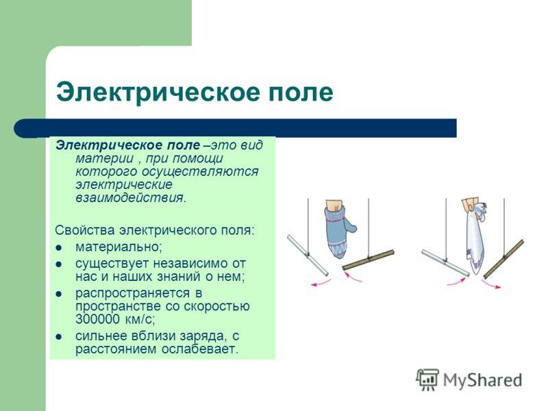 Электрическое поле Электрическое поле –это вид материи, при помощи которого осуществляются электрические взаимодействия. Свойства электрического поля: материально; существует независимо от нас и наших знаний о нем; распространяется в пространстве со