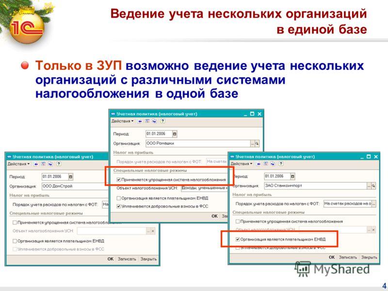 4 Ведение учета нескольких организаций в единой базе Только в ЗУП возможно ведение учета нескольких организаций с различными системами налогообложения в одной базе