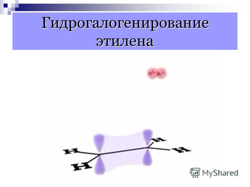 Механизм реакций присоединения алкенов π -связь является донором электронов, поэтому она легко реагирует с электрофильными реагентами. Электрофильное присоединение: разрыв π -связи протекает по гетеролитическому механизму, если атакующая частица явля