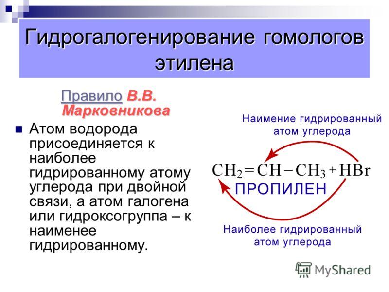 Реакции присоединения 3.Гидрогалогенирование. 1 2 3 4 1 2 3 4 СН 2 = СН – СН 2 – СН 3 + Н – СlCН 3 – СН – СН 2 – СН 3 Бутен-1 Бутен-1 Cl 2-хлорбутан 2-хлорбутан 4.Гидратация. 1 2 3 1 2 3 CН 2 = СН – СН 3 + Н – ОН СН 3 – СН – СН 3 пропен ОН пропанол-2