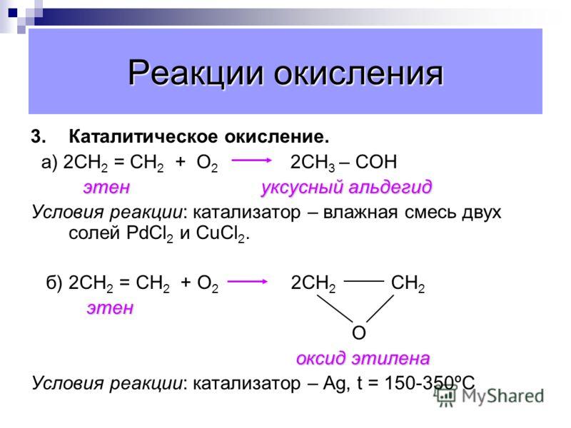 Реакции окисления Реакция Вагнера. (Мягкое окисление раствором перманганата калия). 3СН 2 = СН 2 + 2КМnО 4 + 4Н 2 О 3СН 2 - СН 2 + 2МnО 2 + 2КОН ОН ОН Или С 2 Н 4 + (О) + Н 2 О С 2 Н 4 (ОН) 2 этандиол этен