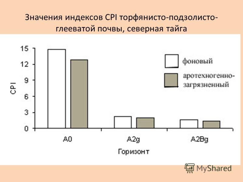 Значения индексов CPI торфянисто-подзолисто- глееватой почвы, северная тайга