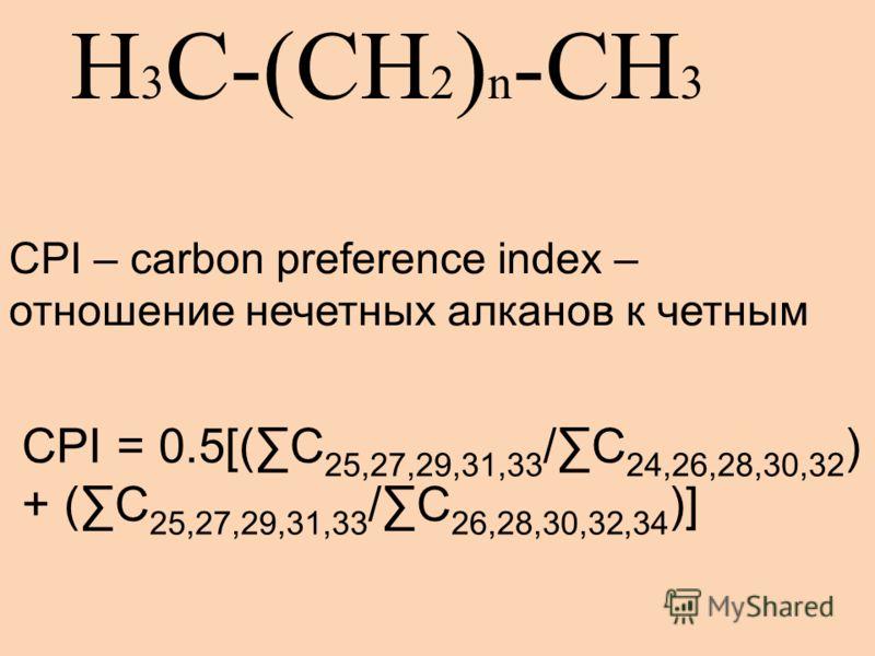 H 3 C-(CH 2 ) n -CH 3 CPI = 0.5[(C 25,27,29,31,33 /C 24,26,28,30,32 ) + (C 25,27,29,31,33 /C 26,28,30,32,34 )] CPI – carbon preference index – отношение нечетных алканов к четным