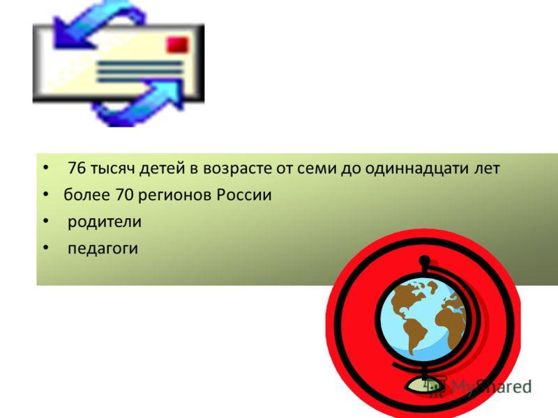 76 тысяч детей в возрасте от семи до одиннадцати лет более 70 регионов России родители педагоги