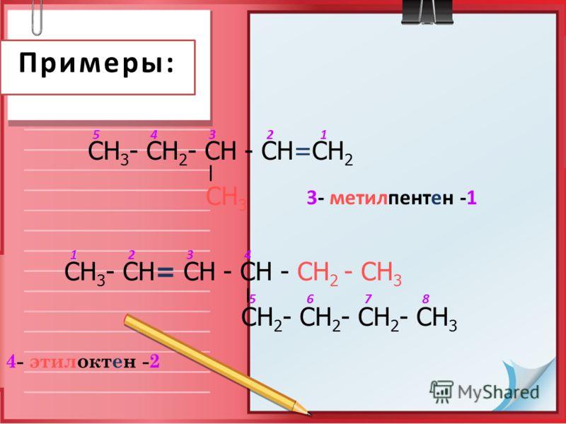 Примеры: 4- этилоктен -2 СН 3 - СН 2 - СН - СН=СН 2 СН 3 СН 3 - СН= СН - СН - СН 2 - СН 3 СН 2 - СН 2 - СН 2 - СН 3 1234 5678 12345 3- метилпентен -1