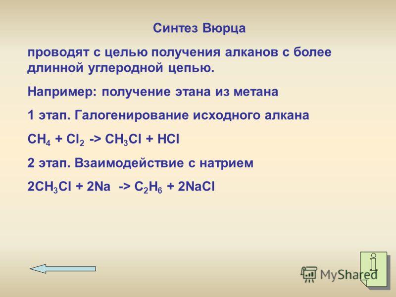 Синтез Вюрца проводят с целью получения алканов с более длинной углеродной цепью. Например: получение этана из метана 1 этап. Галогенирование исходного алкана СН 4 + Сl 2 -> CH 3 Cl + HCl 2 этап. Взаимодействие с натрием 2CH 3 Cl + 2Na -> C2H6 C2H6 +