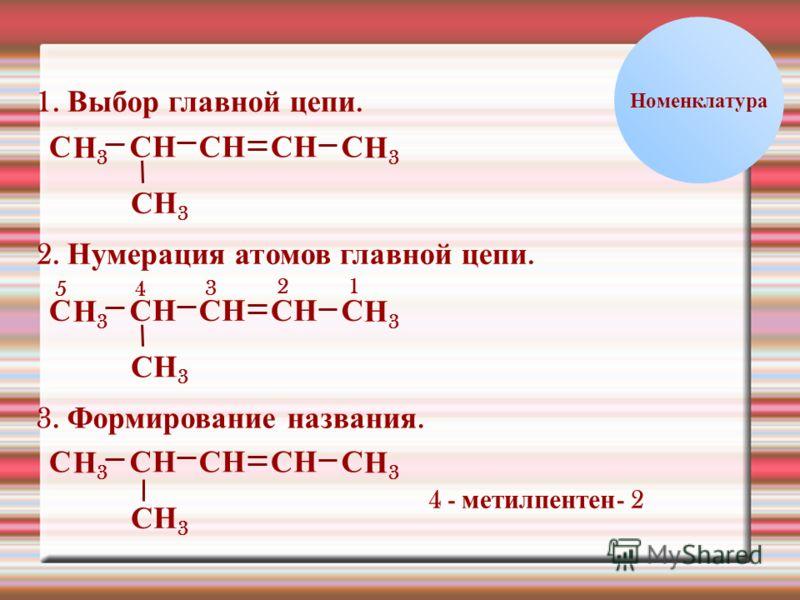 НС Номенклатура 1. Выбор главной цепи. НН3Н3 ССССС СН 3 ННН3Н3 2. Нумерация атомов главной цепи. НН3Н3 ССССС СН 3 ННН3Н3 12 3 45 3. Формирование названия. НН3Н3 СССС СН 3 НН3Н3 4 - метил пентен - 2