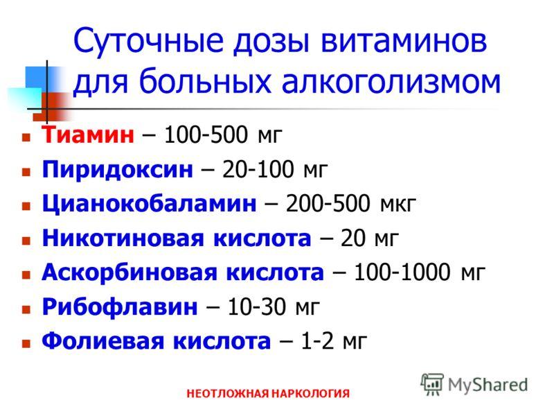 НЕОТЛОЖНАЯ НАРКОЛОГИЯ Суточные дозы витаминов для больных алкоголизмом Тиамин – 100-500 мг Пиридоксин – 20-100 мг Цианокобаламин – 200-500 мкг Никотиновая кислота – 20 мг Аскорбиновая кислота – 100-1000 мг Рибофлавин – 10-30 мг Фолиевая кислота – 1-2