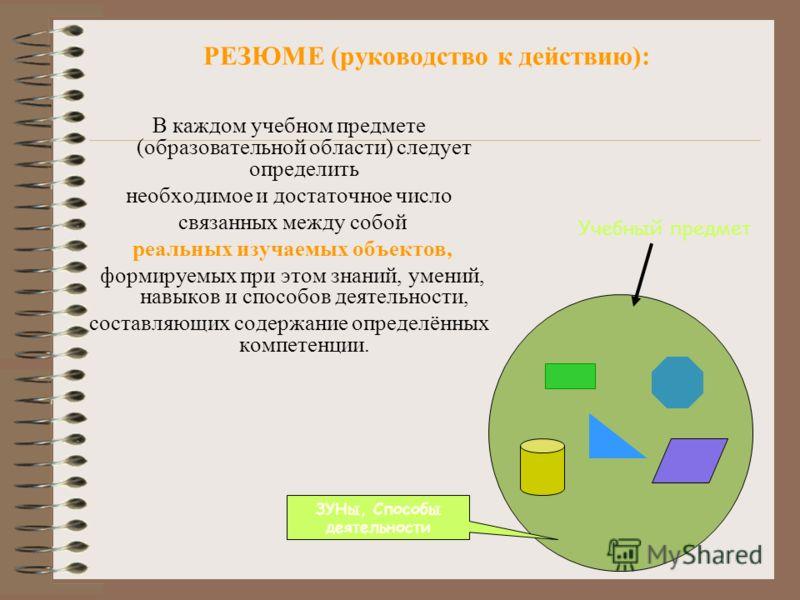 РЕЗЮМЕ (руководство к действию): В каждом учебном предмете (образовательной области) следует определить необходимое и достаточное число связанных между собой реальных изучаемых объектов, формируемых при этом знаний, умений, навыков и способов деятель