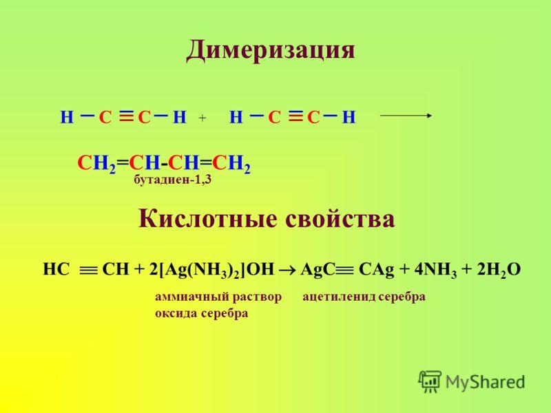 Димеризация HHССHHСС + СН2=СН-СН=СН2СН2=СН-СН=СН2 Кислотные свойства HC CH + 2[Ag(NH 3 ) 2 ]OH AgC CAg + 4NH 3 + 2H 2 O бутадиен-1,3 аммиачный раствор оксида серебра ацетиленид серебра