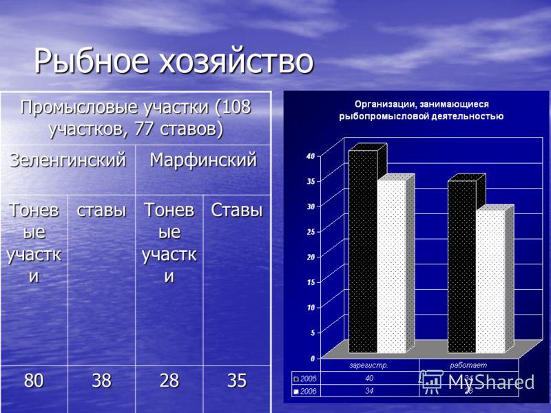 Рыбное хозяйство Промысловые участки (108 участков, 77 ставов) ЗеленгинскийМарфинский Тонев ые участк и ставы Ставы 80382835