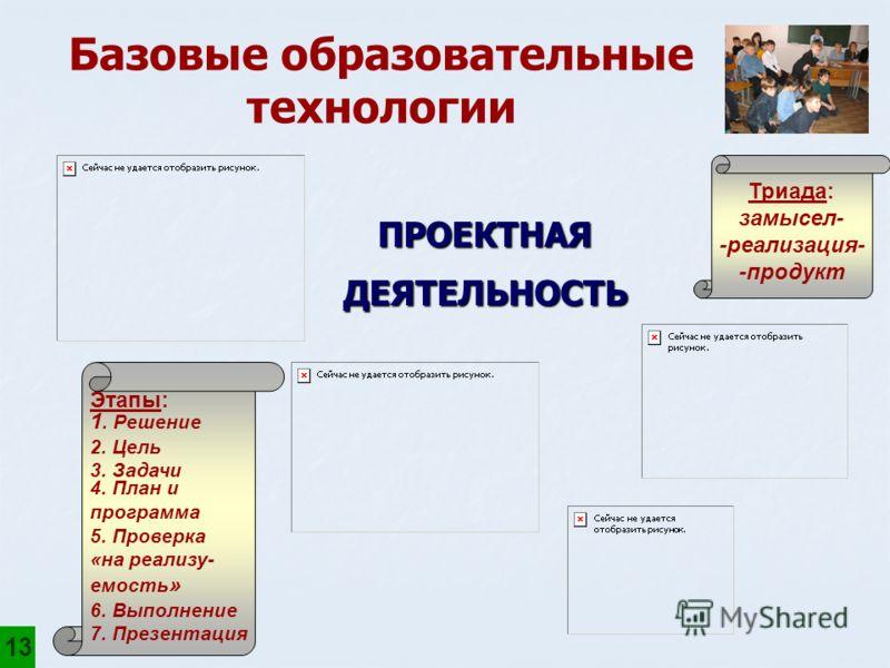 ПРОЕКТНАЯДЕЯТЕЛЬНОСТЬ Триада: замысел- -реализация- -продукт Этапы: 1. Решение 2. Цель 3. Задачи 4. План и программа 5. Проверка «на реализу- емость » 6. Выполнение 7. Презентация Базовые образовательные технологии 13