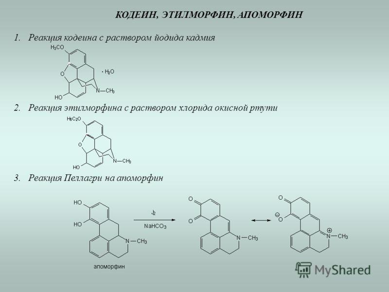 КОДЕИН, ЭТИЛМОРФИН, АПОМОРФИН 1.Реакция кодеина с раствором йодида кадмия 2.Реакция этилморфина с раствором хлорида окисной ртути 3.Реакция Пеллагри на апоморфин