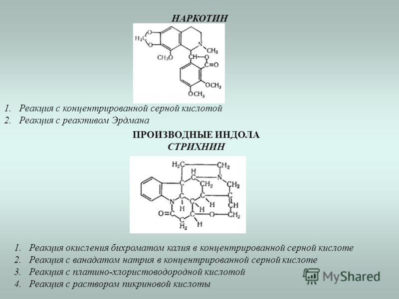 НАРКОТИН 1.Реакция с концентрированной серной кислотой 2.Реакция с реактивом Эрдмана ПРОИЗВОДНЫЕ ИНДОЛА СТРИХНИН 1.Реакция окисления бихроматом калия в концентрированной серной кислоте 2.Реакция с ванадатом натрия в концентрированной серной кислоте 3