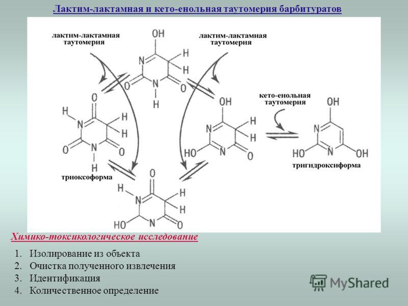 Лактим-лактамная и кето-енольная таутомерия барбитуратов Химико-токсикологическое исследование 1.Изолирование из объекта 2.Очистка полученного извлечения 3.Идентификация 4.Количественное определение