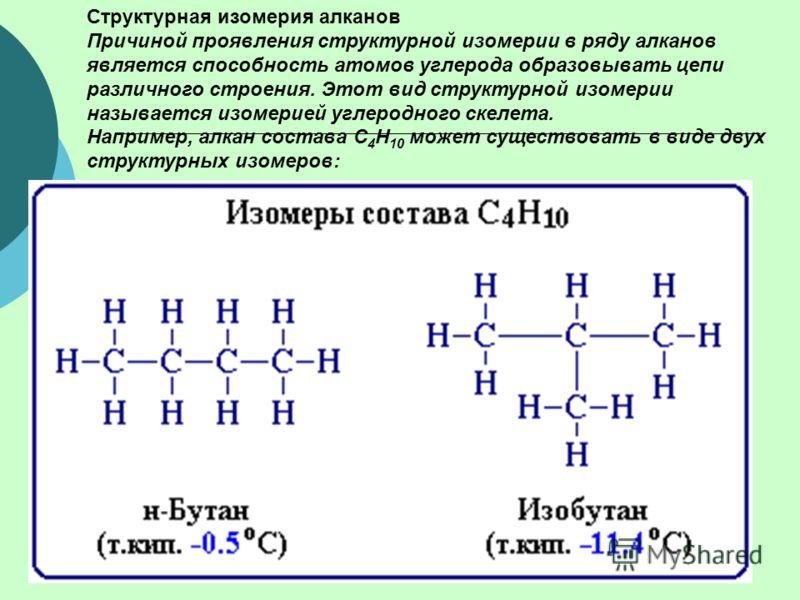 Структурная изомерия алканов Причиной проявления структурной изомерии в ряду алканов является способность атомов углерода образовывать цепи различного строения. Этот вид структурной изомерии называется изомерией углеродного скелета. Например, алкан с