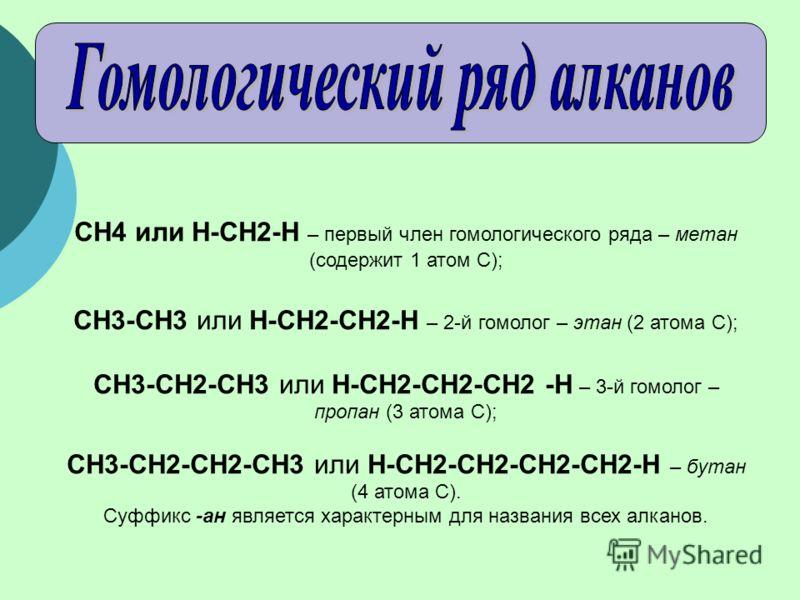 CH4 или Н-СН2-Н – первый член гомологического ряда – метан (содержит 1 атом C); CH3-CH3 или Н-СН2-СН2-Н – 2-й гомолог – этан (2 атома С); CH3-CH2-CH3 или Н-СН2-СН2-СН2 -Н – 3-й гомолог – пропан (3 атома С); CH3-CH2-CH2-CH3 или Н-СН2-СН2-СН2-СН2-Н – б
