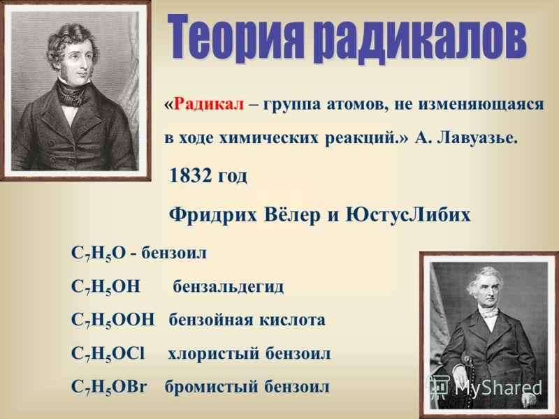 1832 год Фридрих Вёлер и ЮстусЛибих «Радикал – группа атомов, не изменяющаяся в ходе химических реакций.» А. Лавуазье. С 7 Н 5 О - бензоил С 7 Н 5 ОН бензальдегид С 7 Н 5 ООН бензойная кислота С 7 Н 5 ОCl хлористый бензоил C 7 H 5 OBr бромистый бензо