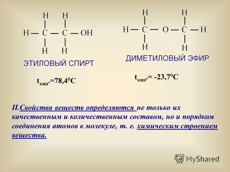 II.Свойства веществ определяются не только их качественным и количественным составом, но и порядком соединения атомов в молекуле, т. е. химическим строением вещества. t кип.=78,4 0 С t кип.= -23,7 0 С