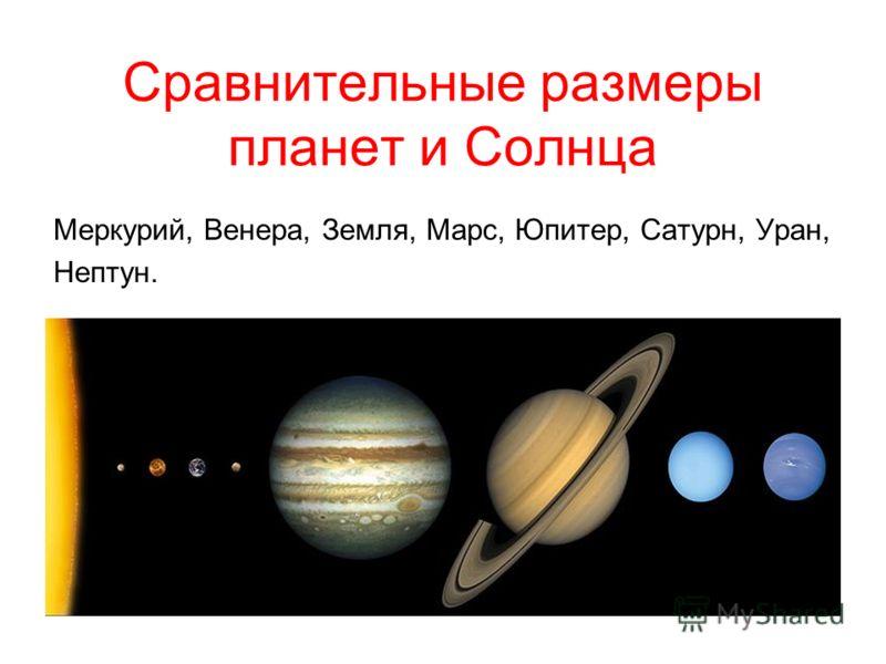 Сравнительные размеры планет и Солнца Меркурий, Венера, Земля, Марс, Юпитер, Сатурн, Уран, Нептун.