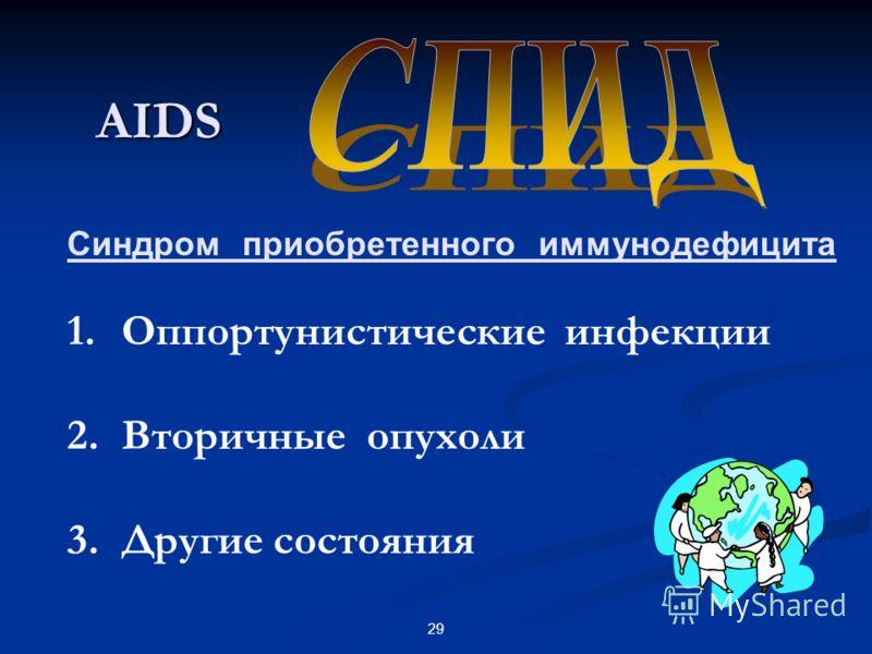 29 AIDS Синдром приобретенного иммунодефицита 1. Оппортунистические инфекции 2. Вторичные опухоли 3. Другие состояния