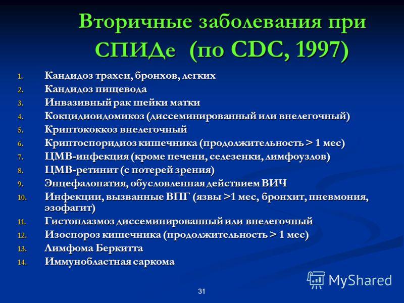 31 Вторичные заболевания при СПИДе (по CDC, 1997) 1. Кандидоз трахеи, бронхов, легких 2. Кандидоз пищевода 3. Инвазивный рак шейки матки 4. Кокцидиоидомикоз (диссеминированный или внелегочный) 5. Криптококкоз внелегочный 6. Криптоспоридиоз кишечника