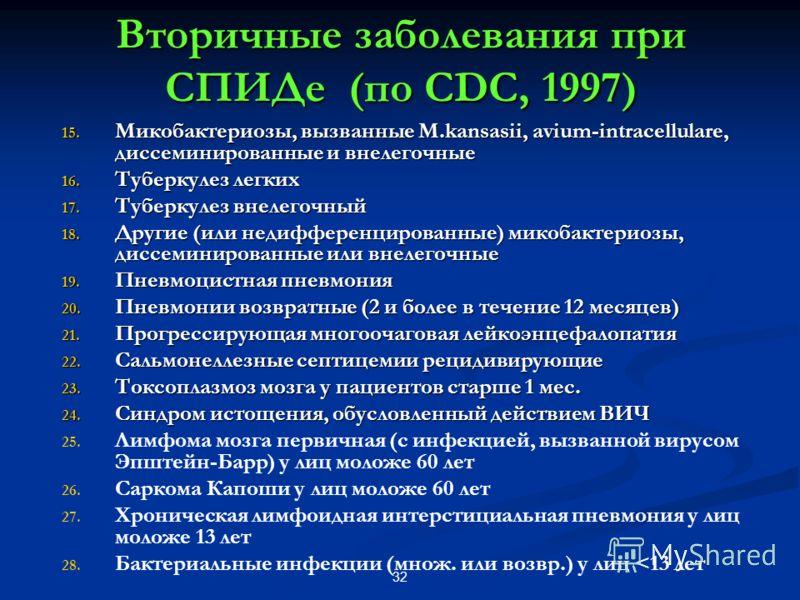 32 Вторичные заболевания при СПИДе (по CDC, 1997) 15. Микобактериозы, вызванные M.kansasii, avium-intracellulare, диссеминированные и внелегочные 16. Туберкулез легких 17. Туберкулез внелегочный 18. Другие (или недифференцированные) микобактериозы, д