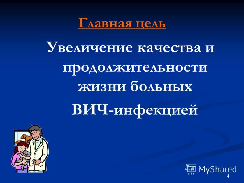 4 Главная цель Увеличение качества и продолжительности жизни больных ВИЧ-инфекцией