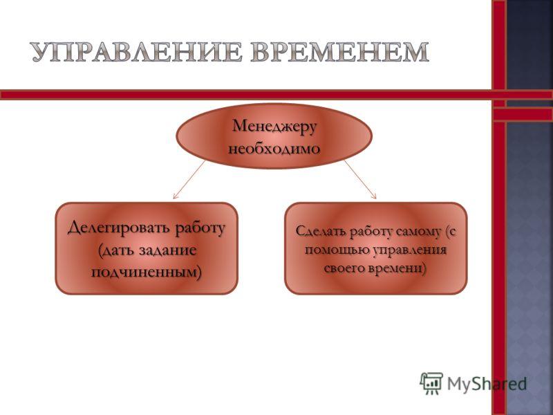 Менеджеру необходимо Делегировать работу (дать задание подчиненным) Сделать работу самому (с помощью управления своего времени)
