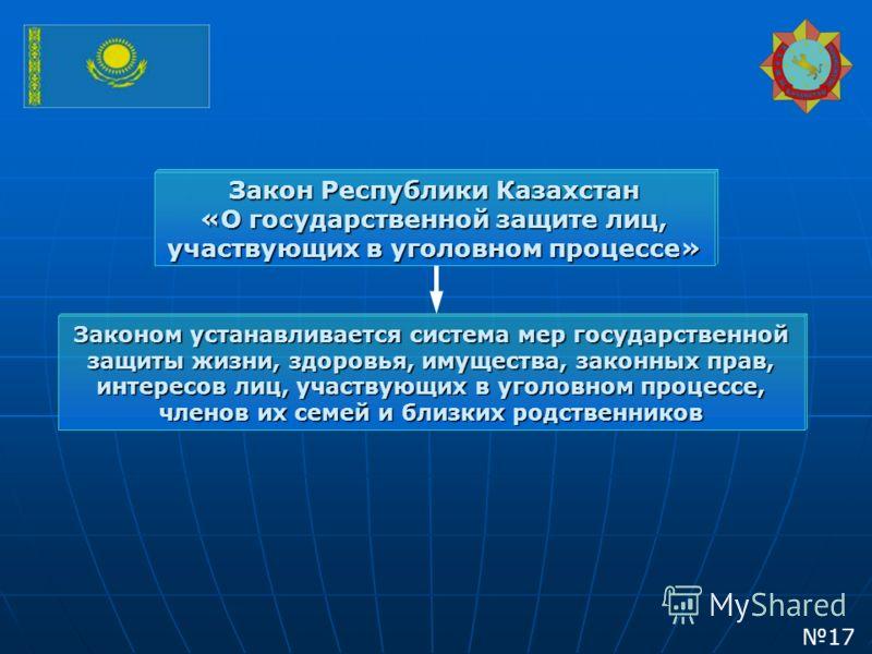 Закон Республики Казахстан «О государственной защите лиц, участвующих в уголовном процессе» Законом устанавливается система мер государственной защиты жизни, здоровья, имущества, законных прав, интересов лиц, участвующих в уголовном процессе, членов