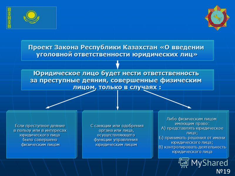 Проект Закона Республики Казахстан «О введении уголовной ответственности юридических лиц» Юридическое лицо будет нести ответственность за преступные деяния, совершенные физическим лицом, только в случаях: лицом, только в случаях : Если преступное дея
