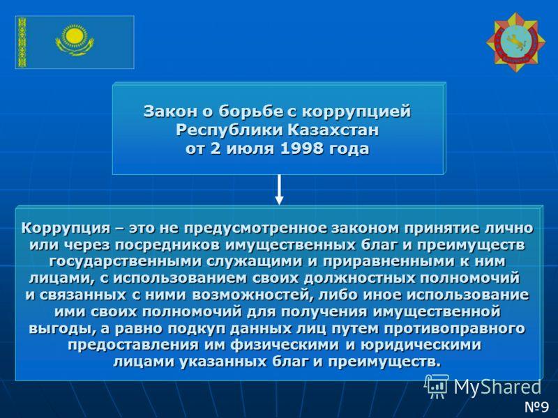 Закон о борьбе с коррупцией Республики Казахстан от 2 июля 1998 года Коррупция – это не предусмотренное законом принятие лично или через посредников имущественных благ и преимуществ государственными служащими и приравненными к ним лицами, с использов