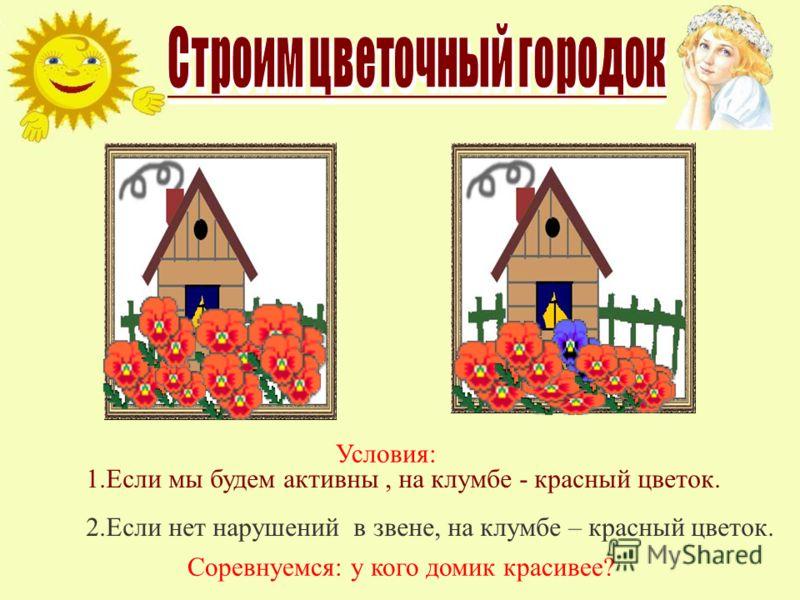 Соревнуемся: у кого домик красивее? Условия: 1.Если мы будем активны, на клумбе - красный цветок. 2.Если нет нарушений в звене, на клумбе – красный цветок.
