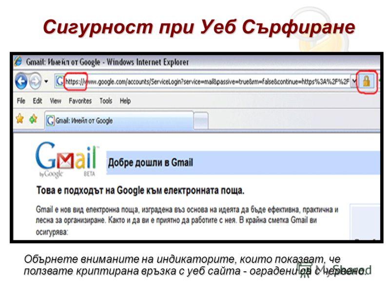 Сигурност при Уеб Сърфиране Обърнете вниманите на индикаторите, които показват, че ползвате криптирана връзка с уеб сайта - оградени са с червено.