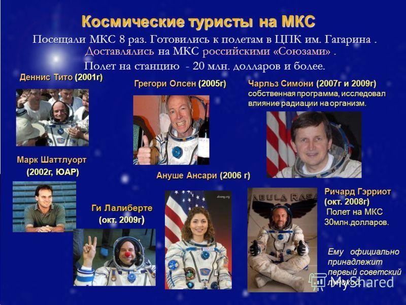 Космические туристы на МКС Посещали МКС 8 раз. Готовились к полетам в ЦПК им. Гагарина. Доставлялись на МКС российскими «Союзами». Посещали МКС 8 раз. Готовились к полетам в ЦПК им. Гагарина. Доставлялись на МКС российскими «Союзами». Полет на станци