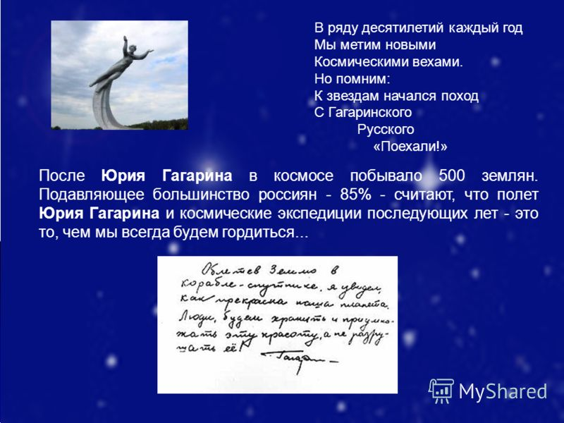 В ряду десятилетий каждый год Мы метим новыми Космическими вехами. Но помним: К звездам начался поход С Гагаринского Русского «Поехали!» После Юрия Гагарина в космосе побывало 500 землян. Подавляющее большинство россиян - 85% - считают, что полет Юри