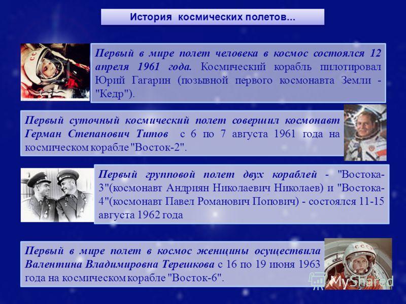 История космических полетов... Первый в мире полет человека в космос состоялся 12 апреля 1961 года. Космический корабль пилотировал Юрий Гагарин (позывной первого космонавта Земли -