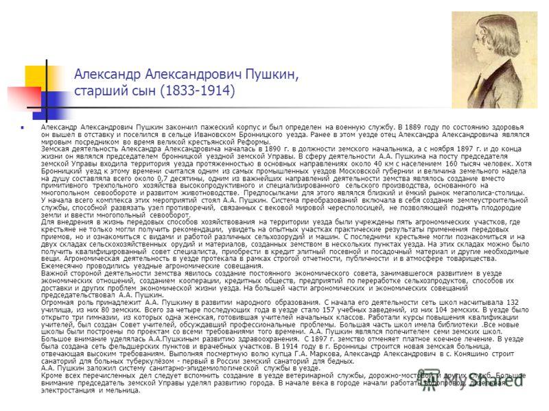 Александр Александрович Пушкин, старший сын (1833-1914) Александр Александрович Пушкин закончил пажеский корпус и был определен на военную службу. В 1889 году по состоянию здоровья он вышел в отставку и поселился в сельце Ивановском Бронницкого уезда