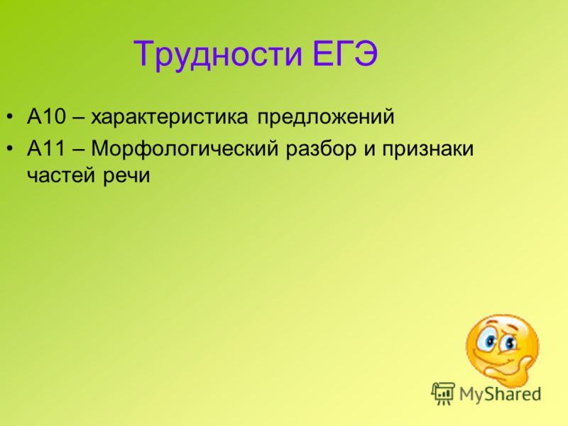 Трудности ЕГЭ А10 – характеристика предложений А11 – Морфологический разбор и признаки частей речи