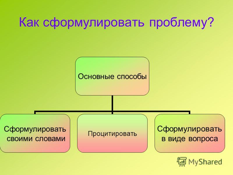 Как сформулировать проблему? Основные способы Сформулировать своими словами Процитировать Сформулировать в виде вопроса