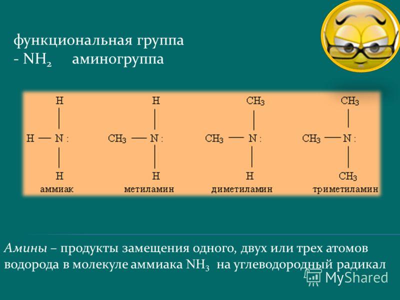 Амины – продукты замещения одного, двух или трех атомов водорода в молекуле аммиака N H 3 на углеводородный радикал функциональная группа - NH 2 аминогруппа