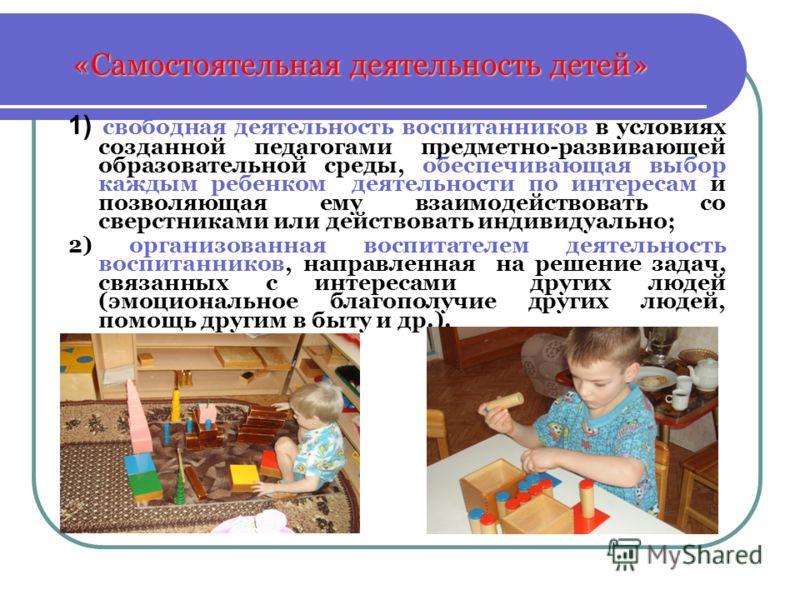 «Самостоятельная деятельность детей» 1) свободная деятельность воспитанников в условиях созданной педагогами предметно-развивающей образовательной среды, обеспечивающая выбор каждым ребенком деятельности по интересам и позволяющая ему взаимодействова