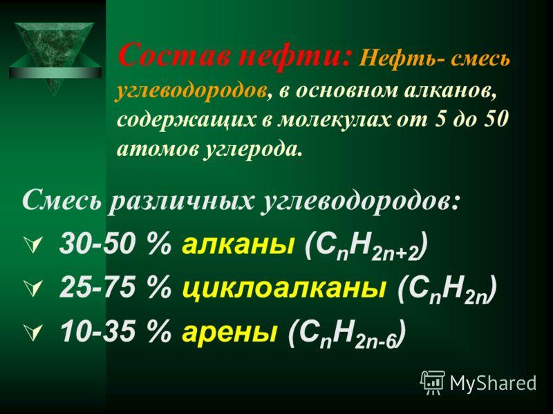 Состав нефти: Нефть- смесь углеводородов, в основном алканов, содержащих в молекулах от 5 до 50 атомов углерода. Смесь различных углеводородов: 30-50 % алканы (C n H 2n+2 ) 25-75 % циклоалканы (C n H 2n ) 10-35 % арены (C n H 2n-6 )